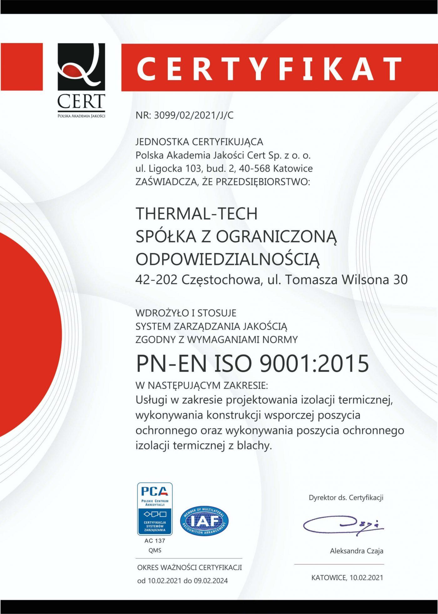 Certyfikat Polskiej Akademii Jakości Cert.